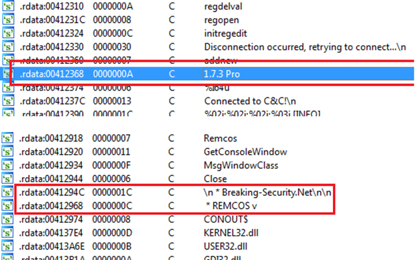 Un-obfuscated strings identifying the remcos server component