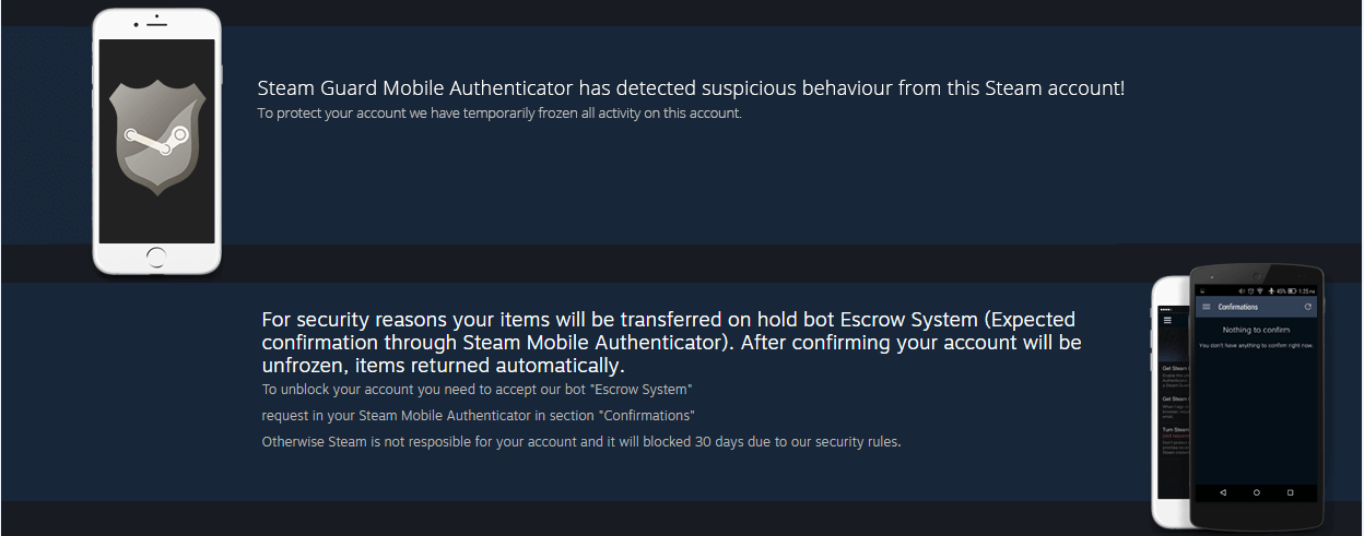 Fake Steam warning of suspicious behavior